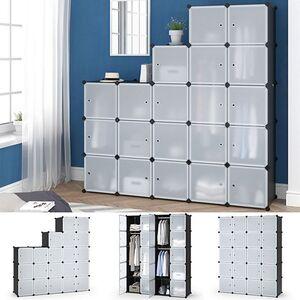 Vicco Kleiderschrank modular DIY Steckregal System Kunststoff 145x180x47 cm Garderobe Kleiderstange
