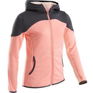Trainingsjacke warm Synthetik atmungsaktiv S500 Gym Kinder rosa/grau