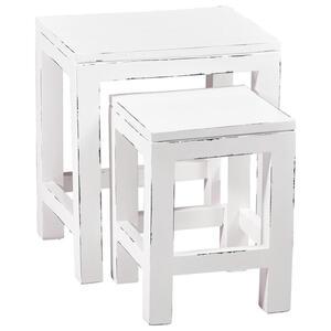 SATZTISCH Mahagoni massiv rechteckig Weiß