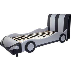 Bett MCW-E14, Auto Junge Kinderbett Jugendbett, Lattenrost Kunstleder Holz 190x100cm ~ schwarz-silber