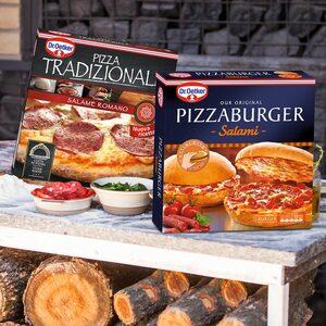 Dr. Oetker Pizza Tradizionale Salame Romano oder Pizza Burger Salami gefroren, jede 370/365-g-Packung und weitere Sorten