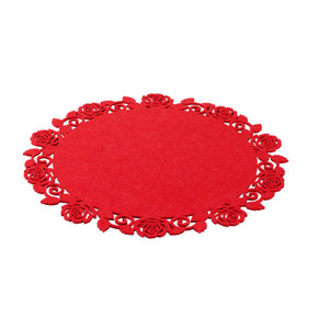"ProVida Platzmatte ""Rote Rosen"" rund aus Filz 35 cm"