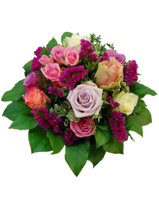 Blumenstrauß mit Rosen, Germini, Ø 28–32 cm
