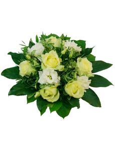 Blumenstrauß mit Rosen, Lysianthus in cremeweiß, Ø 26–30 cm