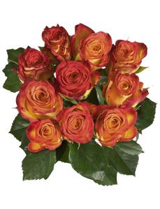 Blumenstrauß mit Rosen   in orange, Ø 33 cm