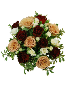 Blumenstrauß mit Rosen, Lysianthus, , Ø 35–39 cm