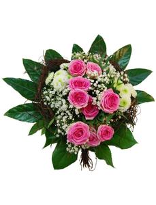 Blumenstrauß mit Polyantha Rosen, Chrysanthemen, Schleierkraut, Ø 28–32 cm
