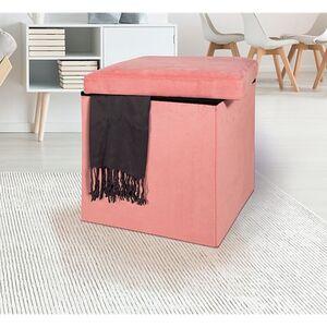 Dekor Sitz- und Aufbewahrungshocker, ca. 38 x 38 x 38 cm - rosé