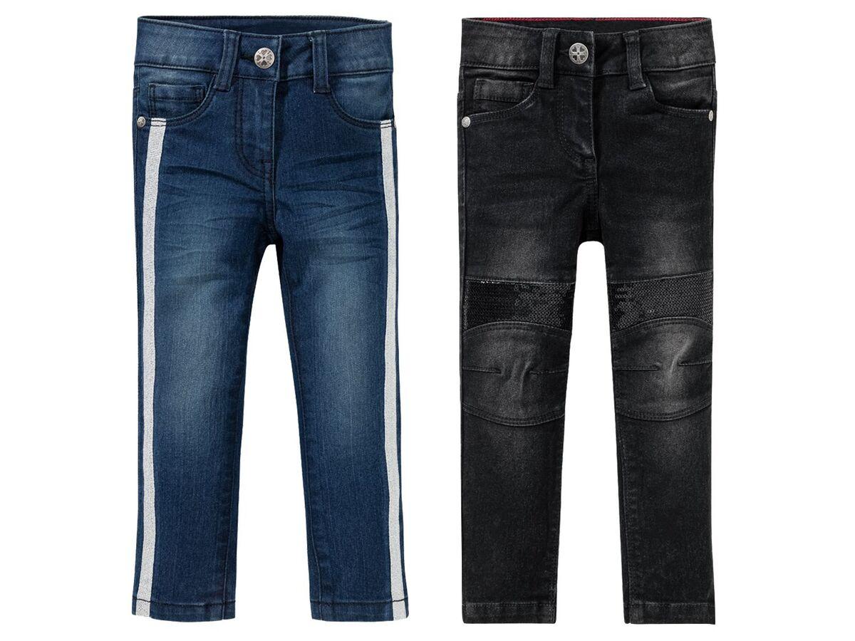 Bild 1 von LUPILU®  Kleinkinder Jeans Mädchen, schmaler Schnitt, mit Glitzerstreifen oder Pailletten
