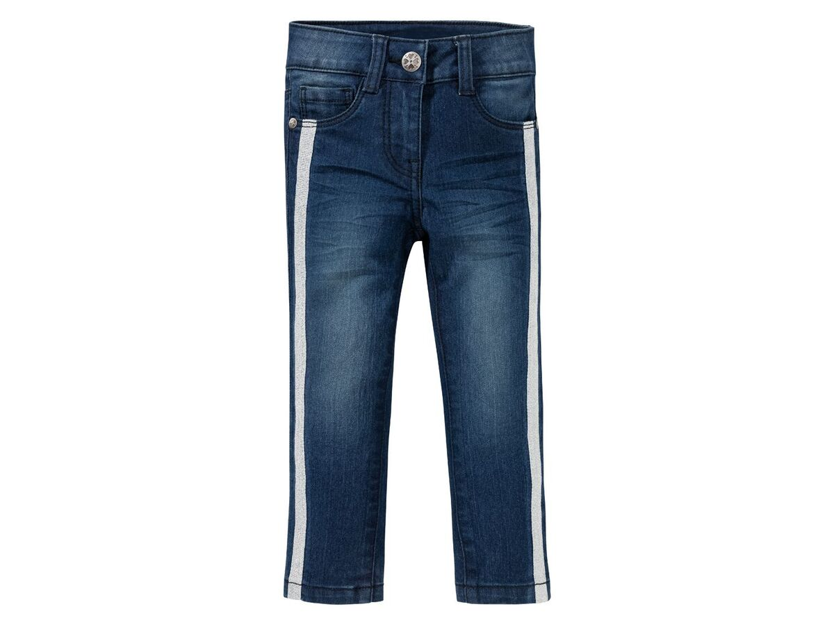 Bild 2 von LUPILU®  Kleinkinder Jeans Mädchen, schmaler Schnitt, mit Glitzerstreifen oder Pailletten