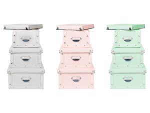 MELINERA® Aufbewahrungsboxen Set, 3-teilig, mit Griff, Beschriftungsfach, aus Kunststoff
