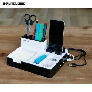 Soundlogic Schreibtisch-Organizer mit USB-Anschlüssen