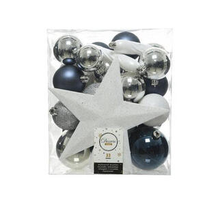 CHRISTBAUMKUGEL-SET 33-teilig Blau, Silberfarben, Weiß