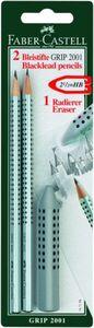 Faber-Castell, 2 Bleistifte GRIP HB + Radiergummi GRIP silber