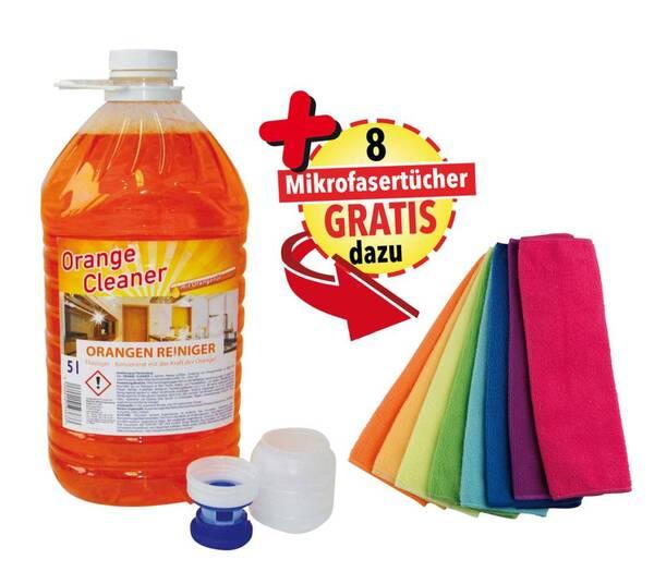 Orangenreiniger XXL Spezialset, 5 Liter plus 8 Mikrofasertücher