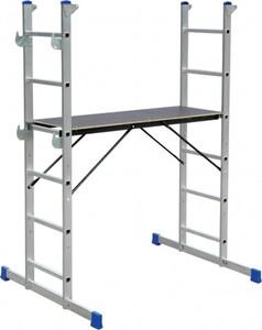Leiterngerüst, 2x6 Sprossen Aluminium, Arbeitshöhe als Gerüst max. 2,95 m