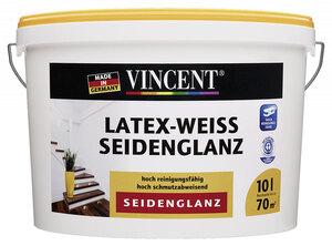 Vincent              Latex-Weiß Seidenglanz, 10L         10 | Seidenglänzend