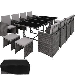 Rattan Sitzgruppe Palma 8+4+1 mit Schutzhülle, Variante 2 grau