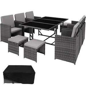Rattan Sitzgruppe Malaga 6+4+1 mit Schutzhülle, Variante 2 grau