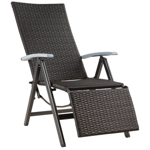 Rattanstuhl mit Aluminiumgestell und Fußablage schwarz