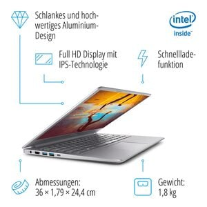 MEDION AKOYA® S6446, Intel® Core™ i5-8265U, Windows 10 Home, 39,5 cm (15,6'') FHD Display, 256 GB SSD, 8 GB RAM, Notebook