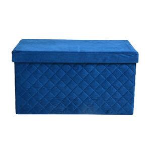 Samt-Faltbank Steppoptik, 70x38x38cm, dunkel-blau