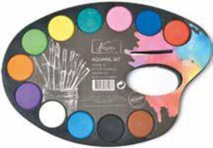 Aquarell-Farbpalette oder Pinsel-Set