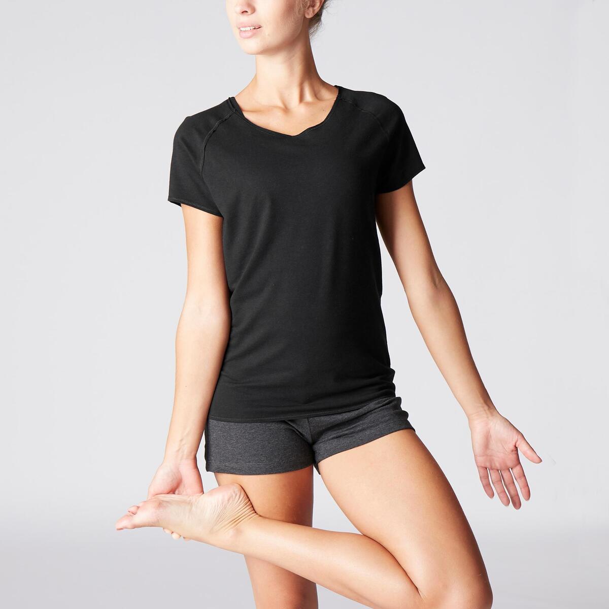 Bild 2 von T-Shirt sanftes Yoga aus Baumwolle aus biologischem Anbau Damen schwarz