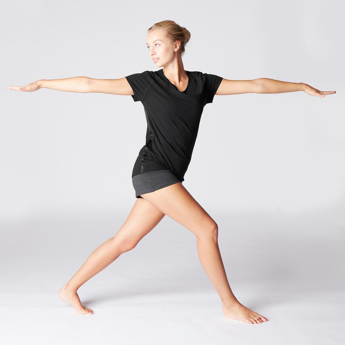 Bild 3 von T-Shirt sanftes Yoga aus Baumwolle aus biologischem Anbau Damen schwarz