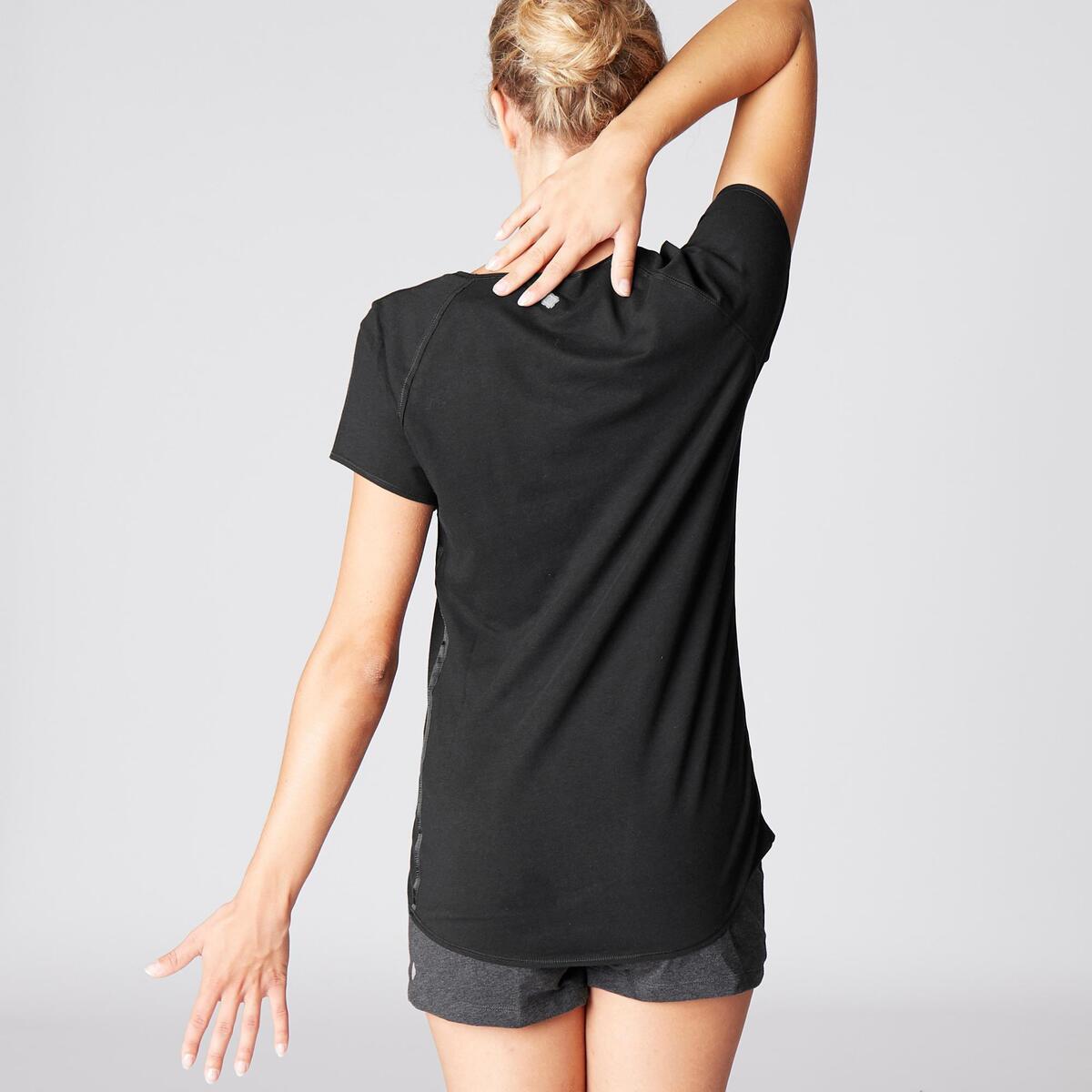 Bild 4 von T-Shirt sanftes Yoga aus Baumwolle aus biologischem Anbau Damen schwarz