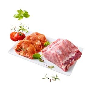 Frischer Schweinerückenbraten mit Kette oder Loin Steaks natur oder mariniert,  je 1 kg