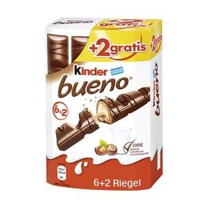 Kinder Bueno 6er + 2 Riegel gratis, jede 172-g-Packung