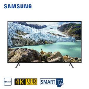 UE65RU7179 (mit AirPlay-Unterstützung) • 3 x HDMI, 2 x USB, CI+ • geeignet für Kabel-, Sat- und DVB-T2-Empfang • Maße: H 83,7 x B 145,8 x T 6 cm • Energie-Effizienz A+ (Spektrum A+++ bis D