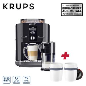 Kaffee-Vollautomat One Touch Cappuccino Latt´Espress EA8298.TC · autom. Milchsystem-Reinigungsprogramm · abnehmbarer Milchbehälter · Claris-Aqua-Filtersystem