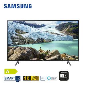 UE58RU7179 (mit AirPlay-Unterstützung) • 3 x HDMI, 2 x USB, CI+ • geeignet für Kabel-, Sat- und DVB-T2-Empfang • Maße: H 75,7 x B 130,1 x T 6 cm • Energie-Effizienz A (Spektrum A++ bis E)