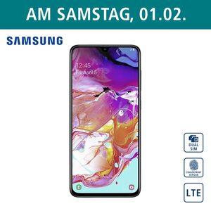 Smartphone Galaxy A70 A705F  • Triple-Rückkamera (32 MP/5 MP/8 MP) • Frontkamera (32 MP) • 6-GB-RAM, bis zu 128 GB interner Speicher • microSD™-Slot bis zu 512 GB • nanoSIM • Android