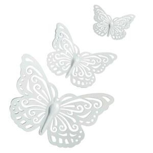"""Wanddekoration """"Schmetterling"""" aus Metall in Weiß 3 Stück"""