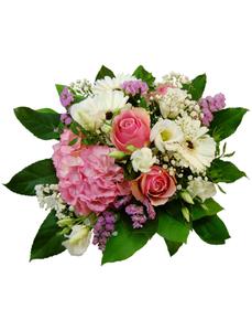 Blumenstrauß mit Hortensien, Rosen, Germini, Lysianthus in weiß/rosa, Ø 26–30 cm