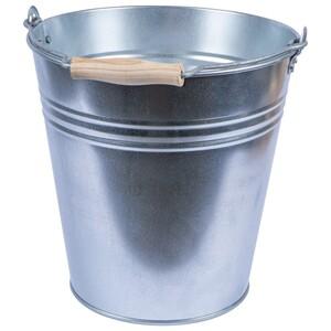 Zinkeimer 10 oder 15 Liter aus Stahl mit Holzgriff
