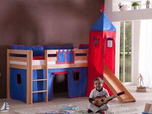 Relita Spielbett Hochbett Kinderbett ALEX mit Rutsche/Turm Buche massiv natur lackiert mit Stoffset