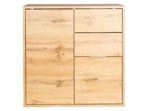 LIVARNO LIVING® Kommode, 80 x 80 cm, mit 2 Türen und 2 Schubkästen, Eiche-Nachbildung