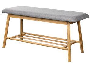 LIVARNO LIVING® Sitzbank, 90 x 45 cm, mit Sitzkissen und Ablagefläche, aus Bambus