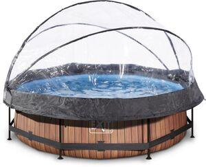 EXIT - Pool Holzoptik mit Abdeckung - Rund - 300x76 cm