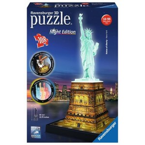 Ravensburger - 3D Puzzle: Night Edition, Freiheitsstatue bei Nacht, 108 Teile