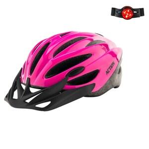 Pinker Fahrradhelm mit Reflektor , 52 - 56 cm