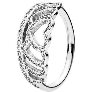 "Pandora Ring ""Herzens-Tiara 190958CZ"", 925er Silber, silber"