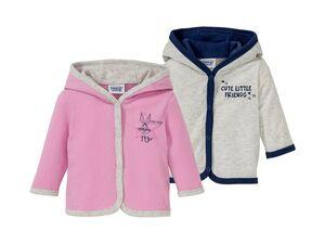Baby Jacke Mädchen, 2 Stück, Knopfverschluss, mit Print und Kapuze, 100% Baumwolle