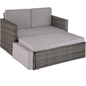 Rattan Lounge Korfu grau