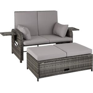 Rattan Sofa mit Aluminiumgestell Kreta grau