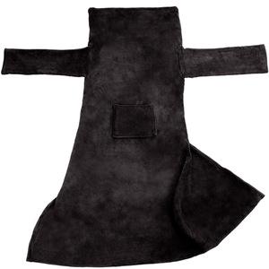 Kuscheldecke mit Ärmeln schwarz 180 x 150 cm